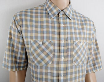 Vintage 1970's 80's SEARS Kings Road ReTrO Striped Plaid HiPsTeR Shirt Size 3XL