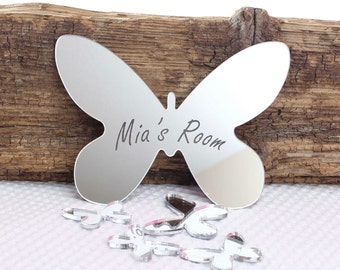 Butterfly Mirror Set Personalised Door Name Plaque Boy Girls Bed Room