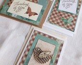 Butterfly Cards, 3 Sizes, Thinking of You, Brown and Green
