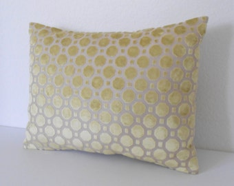 Yellow velvet geometric decorative lumbar pillow cover
