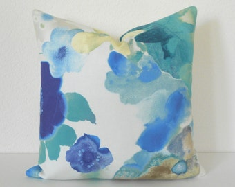 Double sided, Blue, aqua, turquoise watercolor floral decorative pillow cover