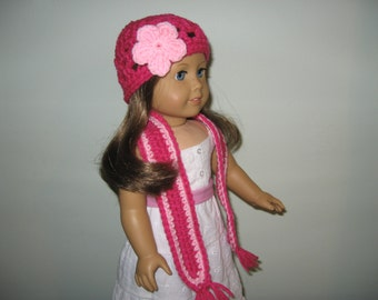 "Hand-Crocheted bright pink hat with light pink flower and matching scarf  for 18"" American Girl Dolls"
