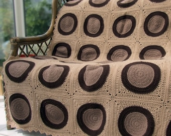 Crochet Pattern Brown Circles Afghan - PDF Instant Download