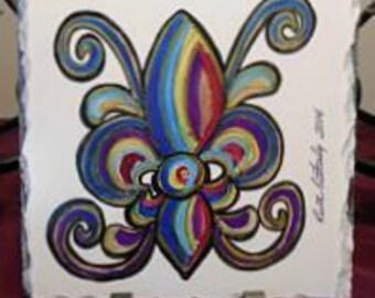 Rainbow Fleur de Lis Art - Art on Slate - Original Art - New Orleans Art - French Quarter Decor - New Orleans Decor - Home Decor - Art Gift