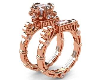Art Masters Caravaggio 14K Rose Gold 1.5 Ct Princess White Sapphire Diamond Engagement Ring Wedding Band Set R627S-14KRGDWS