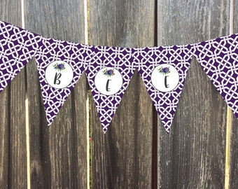 Instant Download - Printable Pennant, Bunting Banner - Merit - Plum Lattice with Handpainted Florals