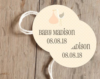 Instant Download - 12 Printable Gift, Favor Tags - Peach Stork