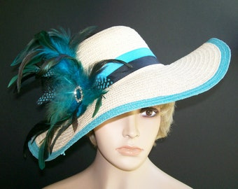 Black and Aqua Hat - Kentucky Derby Hat - Garden Party Hat or Victorian Tea Party