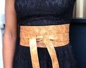 XL genuine leather animal design obi belt, waist cincher, corset belt camel brown colour. ceinture corset fémini, cintura corsetto femminile