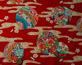 Japanese Fabric : Japanese Patterned Balls on Floral Streams  - 1/4 Yard