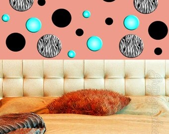 Polka Dots Wall Decals Zebra Print Circles Teen Girls Room Sticker Turquoise GD5
