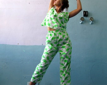 Vtg 80s Palm Tree Outfit / Tropical