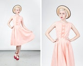 Vintage 1950s Pink and White Cotton Gingham Dress