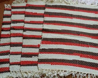 Four Red, White and Brown Handwoven Placemats, Table Mats, Place Setting, Mat, Table