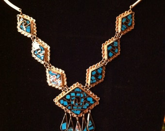 Necklace & ER Set, Southwestern Style Silver With Lapis Inlay