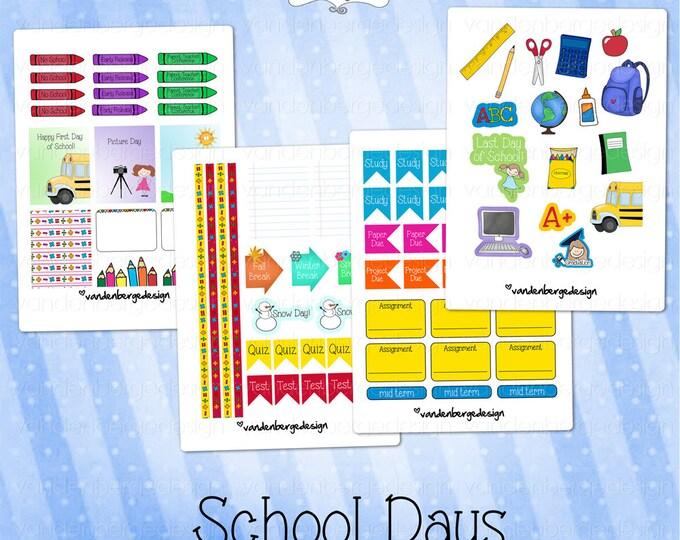 Planner Calendar Stickers- School Days!-Perfect for the Erin Condren Planner!