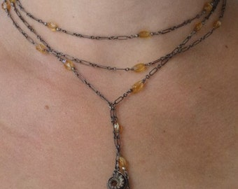Ammonite and Citrine Oxidized Adjustable Necklace