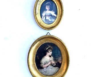 Vintage Pair of  Miniature Italian Frames with prints