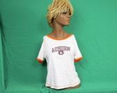 Auburn Tigers White Short Sleeve Ringer T-Shirt - Women's Large - #543