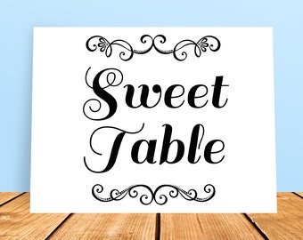 A4 DIY Wedding Sweet Table Printable Sign