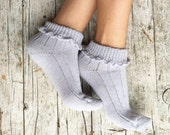 Woman summer socks, embellished with an elegant crochet bordure