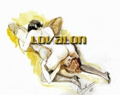 MATURE...The Lovers... Vintage Nude Fetish Illustration... Deluxe Erotic Art Print... Available In Various Sizes