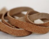 10 mm Ginger- Brown  Flat cord ,Split  Leather,Genuine Suede Leather Strap 1 Yard