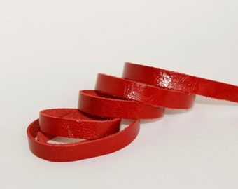 7-10 mm  Red  Genuine Leather Strap, 1 Yard