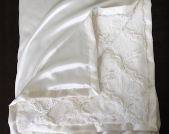 Minky Blanket, Soft Blanket, Baby Girl, Adult Blanket, Blessing blanket, Ivory Blanket, Cream blanket, Silk Satin Blanket, Wedding Gift