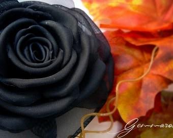 Black Fabric Rose - 100% handmade  - brooch /hair clip