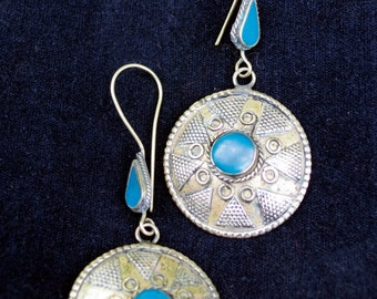 Vintage Afghanistan Kazakh Style Gypsy Tribal Earrings Gold Wash Turquoise Color Uber Kuchi®