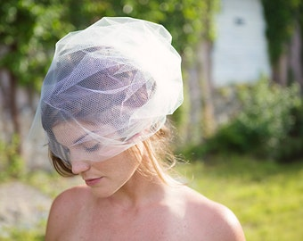 Birdcage Veil Double Layer Tulle and Honeycomb Netting, Bridal Veil, Ivory - Rachel - VE409 - READY TO Ship