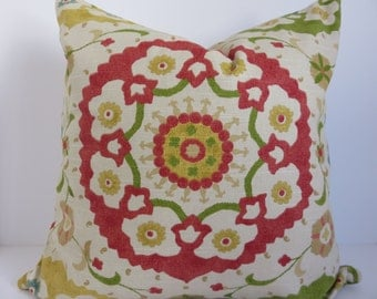 20x20 Pillow cover,Susani pillow, Red pillow cover, Yellow pillow, Green pillow, Pillow cover, Suzani pillow cover