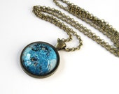 SALE, Blue Topaz Necklace, Fall Jewelry, Hand Painted Glass Pendant, Gift for Her, Bohemian Necklace