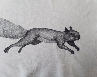 Tea Towel, Screen Printed Flour Sack Towel, leaping, bounding, squirrel, handmade, eco-friendly, kitchen towel, dish towel