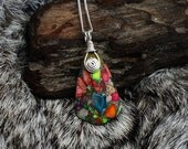 Patchwork Quilt Rainbow Silver Inspiral Necklace Sterling