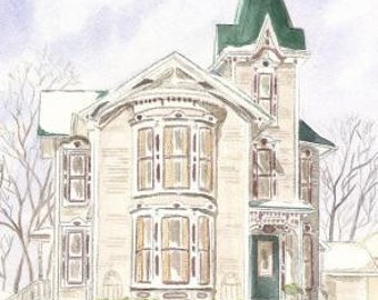 Fine Art print of Victorian Tower House Watercolor painting.