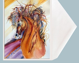 """Horse Art blank Greeting Card by Dotty Reiman  titled """"Rein Dance"""" - Option to Add Your Personal Message Inside of Card!"""