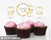 Baby Sprinkle Cupcake Toppers - Baby Shower - INSTANT DOWNLOAD - Printable PDF