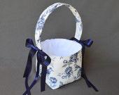Navy Blue and Antique White Rose and Bird Vintage print Wedding Flower Girl Basket