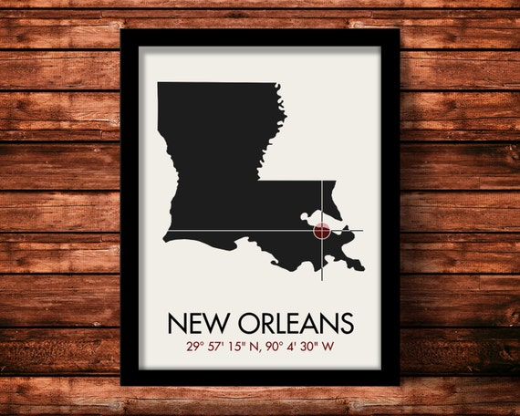 New Orleans Map Print | New Orleans Map Art | New Orleans Print | New Orleans Gift | Louisiana Map | 11 x 14 Print