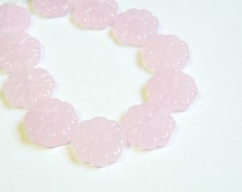 Soft Light Pink milky glass pressed flower focal beads 15x4mm half strand 511187