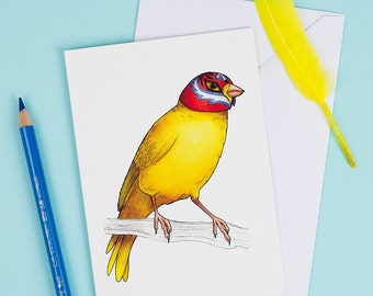Canary in a Mexican Wrestling Mask: A6 Birds in Hats Greetings Card
