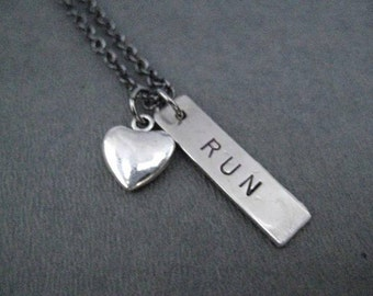 LOVE to RUN with Puffed Heart - Running Necklace on Gunmetal chain - Running Gift - Running Jewelry - Training Partner - Training Group