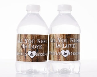 Rustic Wedding Decor - 50 Wedding Water Bottle Labels - Custom Water Bottle Labels - Waterproof Water Bottle Labels
