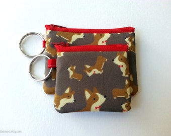 Corgi Keychain Zipper Pouches 2 sizes (Made to Order)