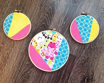 Set of 3-Tsum Tsum Fabric Embroidery Hoop Wall Decor