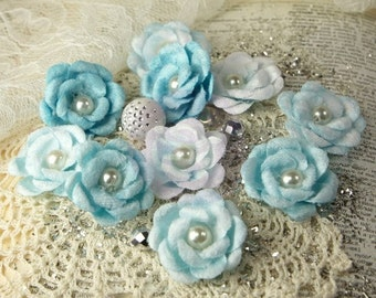 Prima Marketing Audrey Rose Collection Flowers In Blue Ice