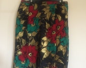 vintage 1960s handmade pencil wiggle skirt stunning lame fabric size M L X