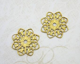 Raw Brass Filigree, Flower Filigree, Raw Brass Stamping, Round Connector 20mm - 6 pcs. (r105)